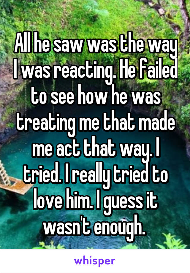 All he saw was the way I was reacting. He failed to see how he was treating me that made me act that way. I tried. I really tried to love him. I guess it wasn't enough.