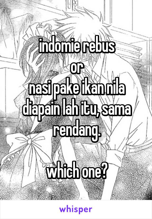 indomie rebus or nasi pake ikan nila diapain lah itu, sama rendang.  which one?