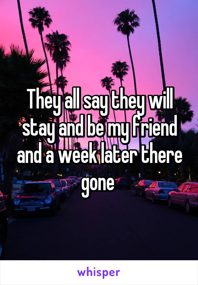 They all say they will stay and be my friend and a week later there gone