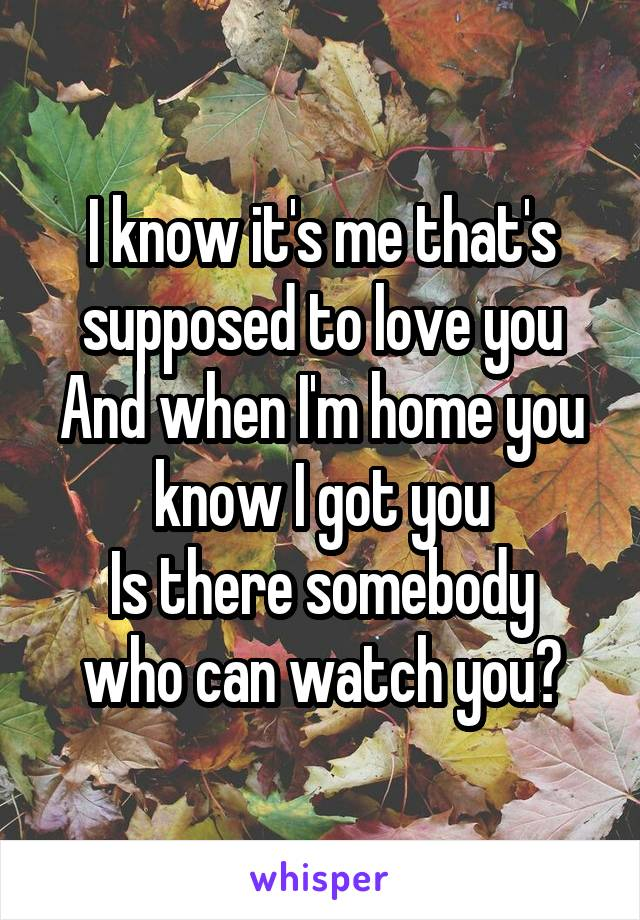 I know it's me that's supposed to love you And when I'm home you know I got you Is there somebody who can watch you?