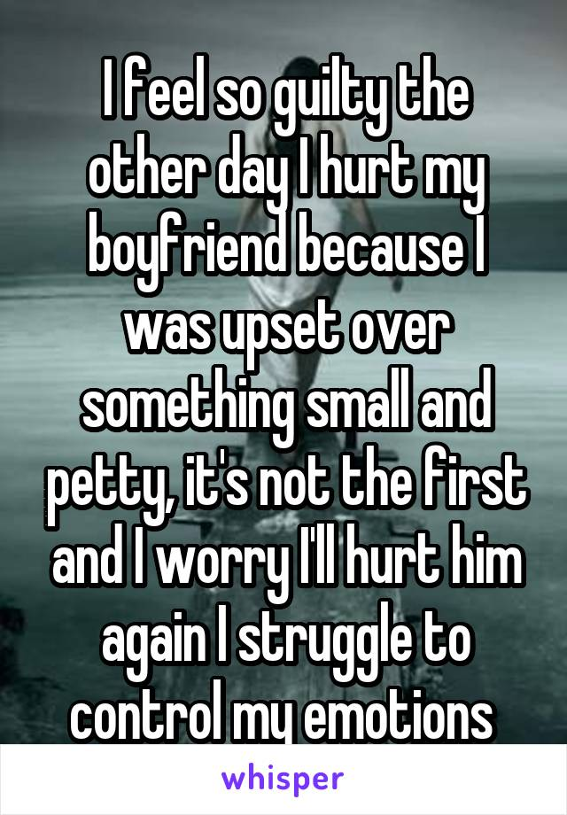 I feel so guilty the other day I hurt my boyfriend because I was upset over something small and petty, it's not the first and I worry I'll hurt him again I struggle to control my emotions
