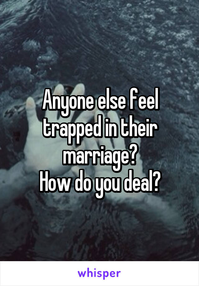 Anyone else feel trapped in their marriage? How do you deal?