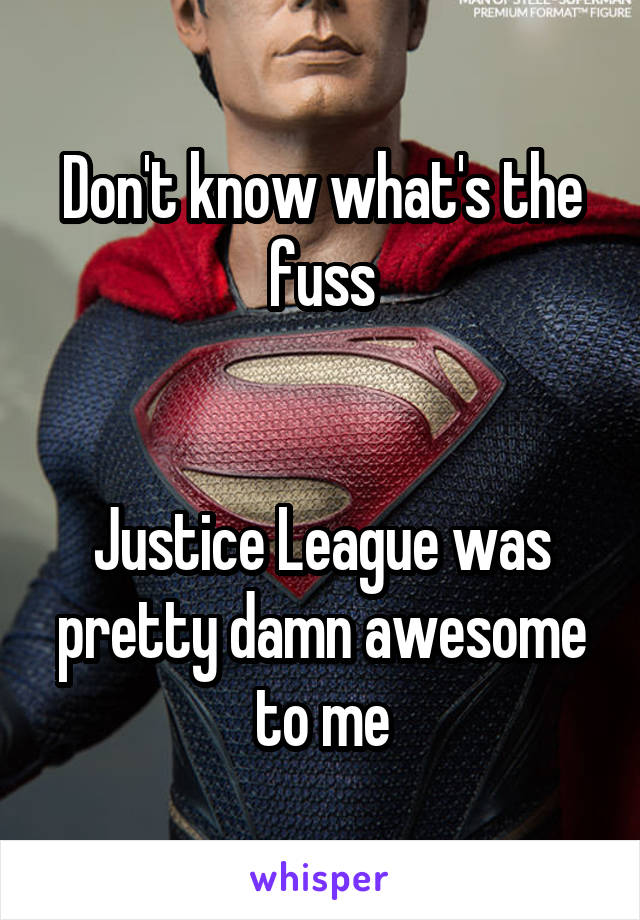 Don't know what's the fuss   Justice League was pretty damn awesome to me