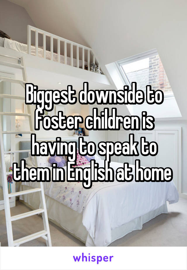 Biggest downside to foster children is having to speak to them in English at home