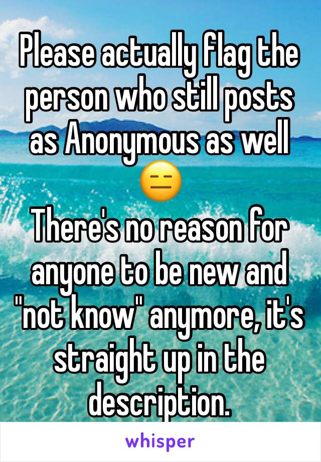 """Please actually flag the person who still posts as Anonymous as well 😑 There's no reason for anyone to be new and """"not know"""" anymore, it's straight up in the description."""