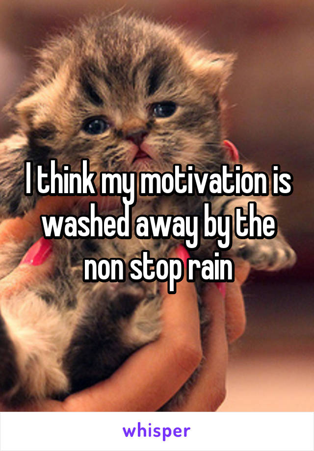 I think my motivation is washed away by the non stop rain