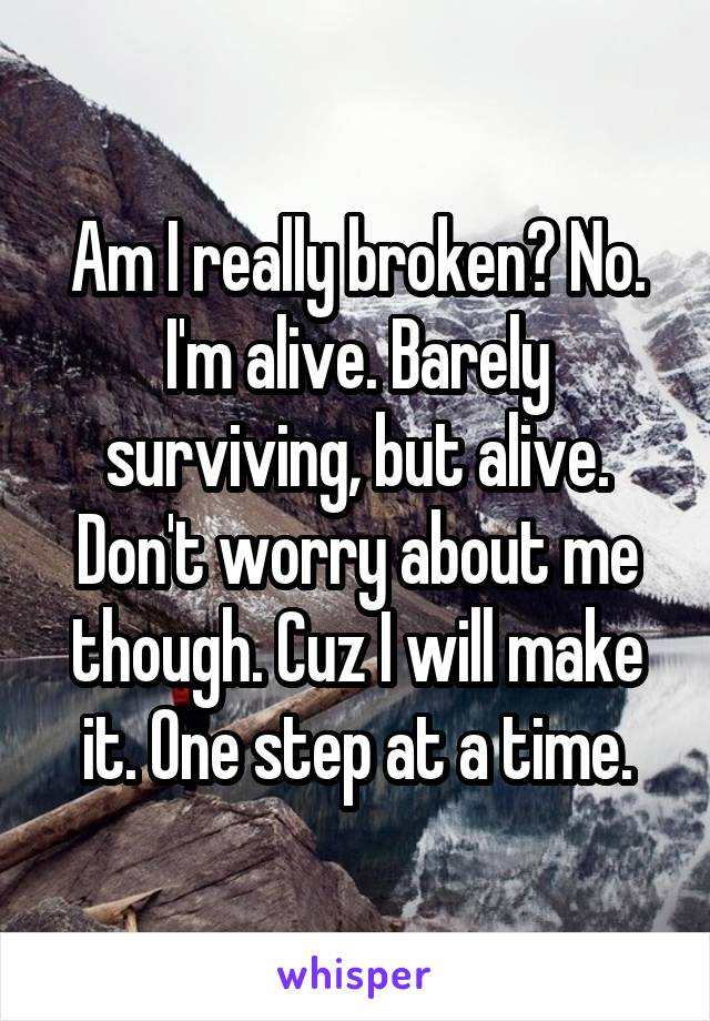 Am I really broken? No. I'm alive. Barely surviving, but alive. Don't worry about me though. Cuz I will make it. One step at a time.