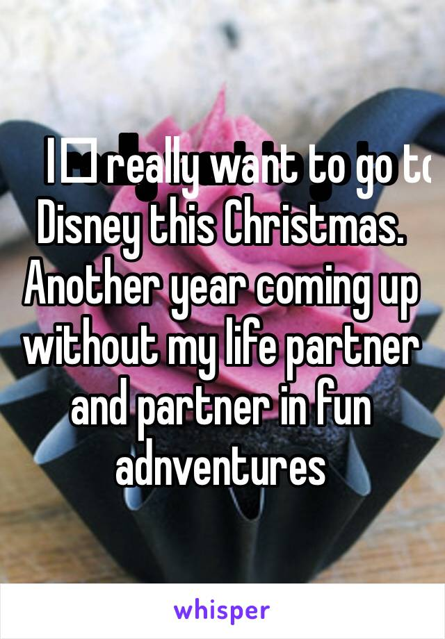 I️ really want to go to Disney this Christmas. Another year coming up without my life partner and partner in fun adnventures