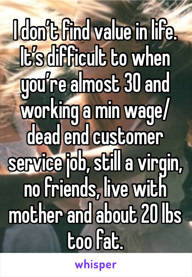 I don't find value in life. It's difficult to when you're almost 30 and working a min wage/dead end customer service job, still a virgin, no friends, live with mother and about 20 lbs too fat.