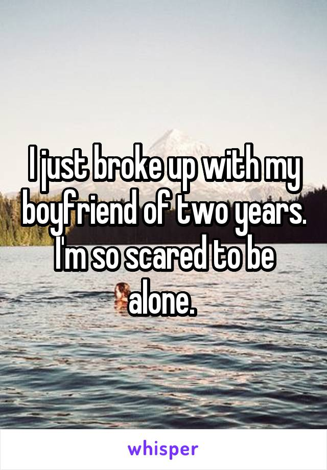 I just broke up with my boyfriend of two years. I'm so scared to be alone.