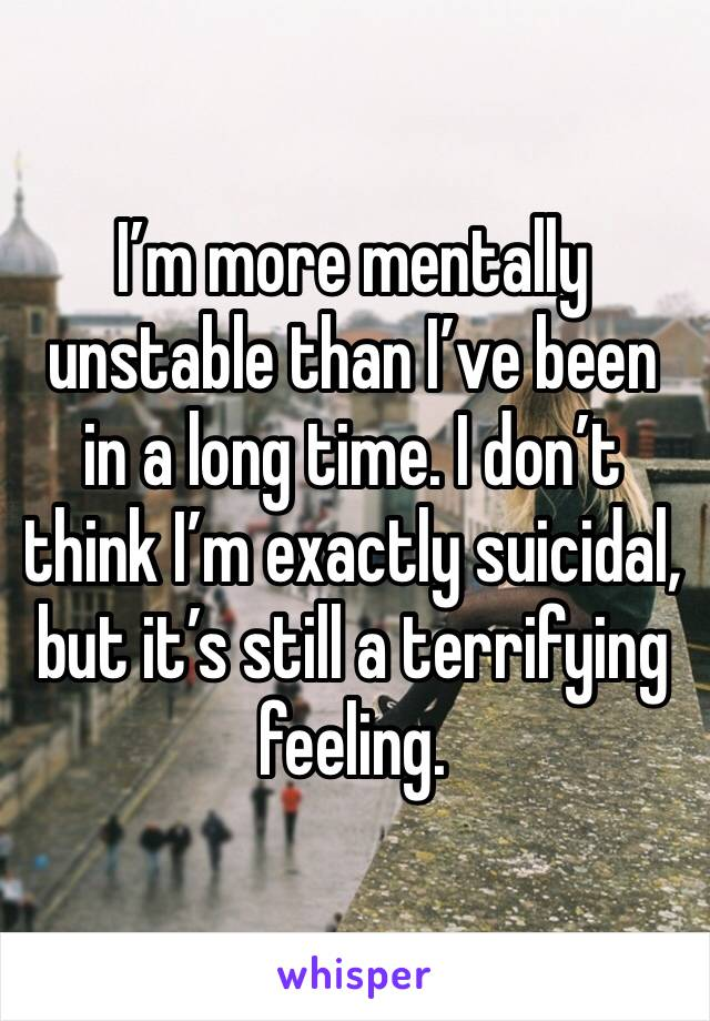 I'm more mentally unstable than I've been in a long time. I don't think I'm exactly suicidal, but it's still a terrifying feeling.