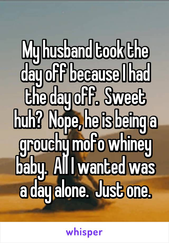 My husband took the day off because I had the day off.  Sweet huh?  Nope, he is being a grouchy mofo whiney baby.  All I wanted was a day alone.  Just one.