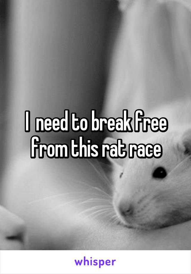 I  need to break free from this rat race