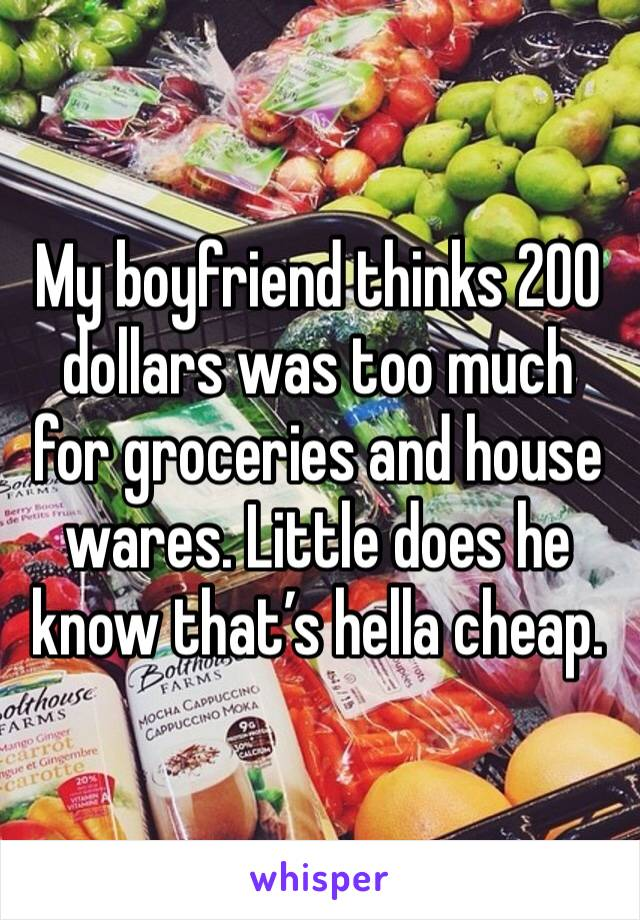 My boyfriend thinks 200 dollars was too much for groceries and house wares. Little does he know that's hella cheap.