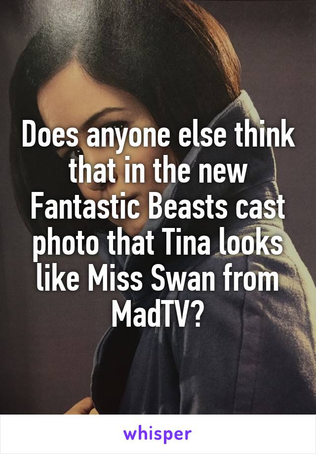 Does anyone else think that in the new Fantastic Beasts cast photo that Tina looks like Miss Swan from MadTV?