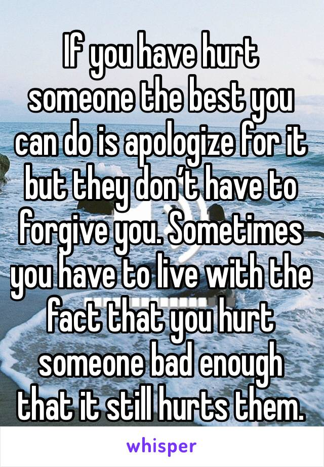 If you have hurt someone the best you can do is apologize for it but they don't have to forgive you. Sometimes you have to live with the fact that you hurt someone bad enough that it still hurts them.