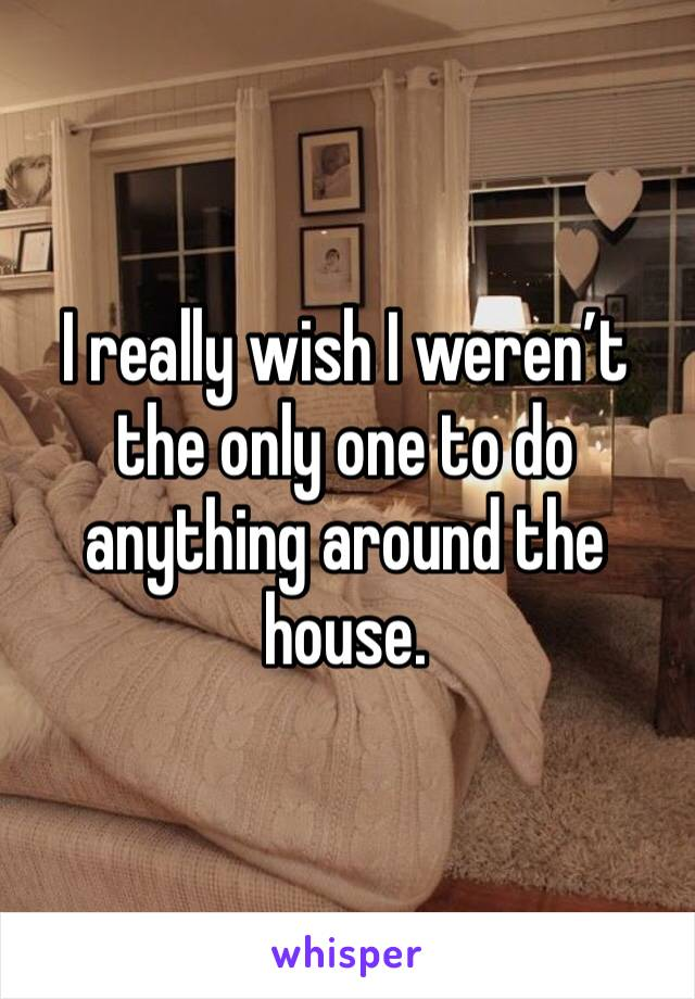 I really wish I weren't the only one to do anything around the house.