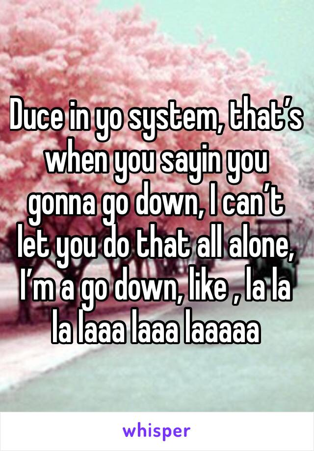 Duce in yo system, that's when you sayin you gonna go down, I can't let you do that all alone, I'm a go down, like , la la la laaa laaa laaaaa
