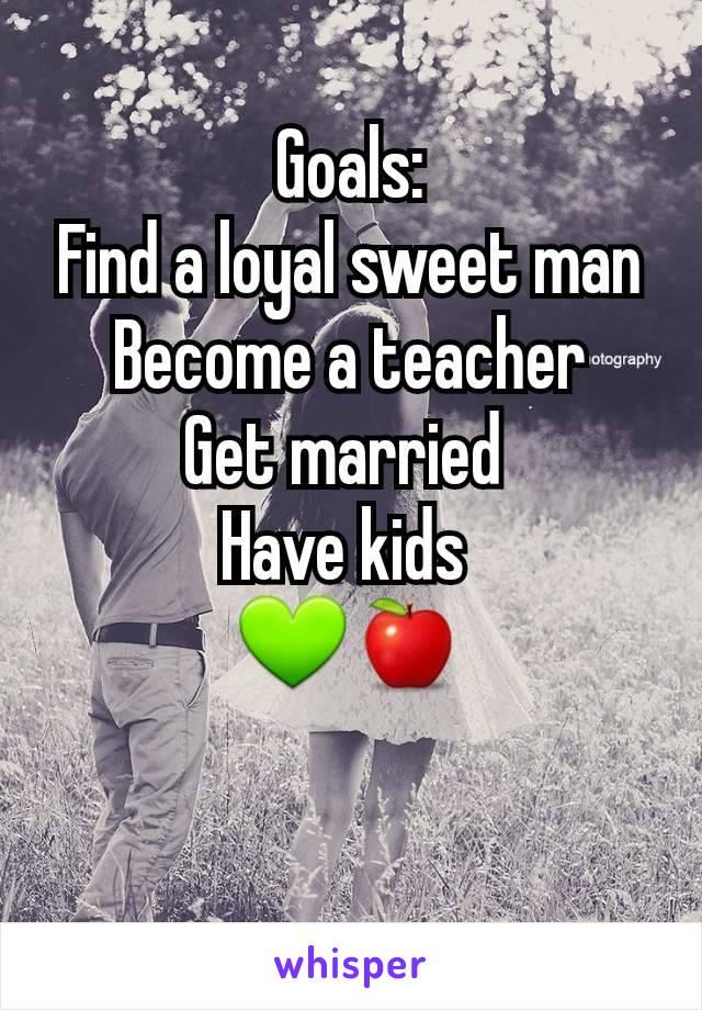 Goals: Find a loyal sweet man Become a teacher Get married  Have kids  💚🍎