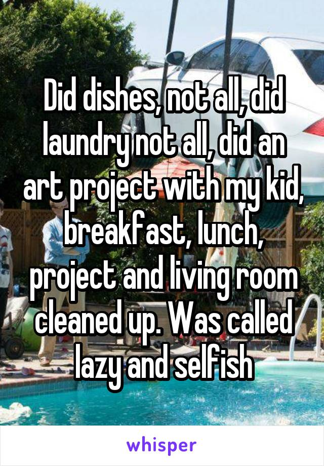 Did dishes, not all, did laundry not all, did an art project with my kid, breakfast, lunch, project and living room cleaned up. Was called lazy and selfish