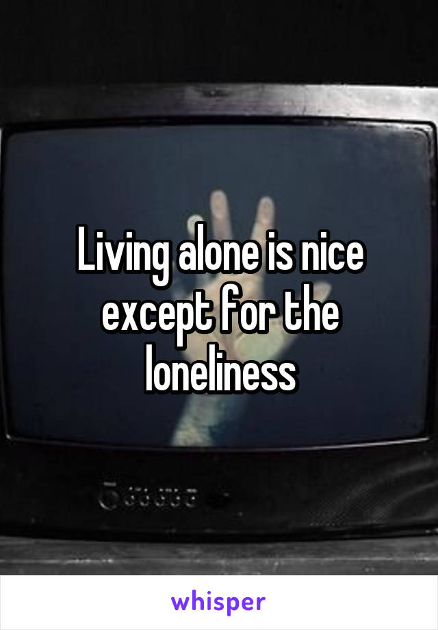 Living alone is nice except for the loneliness