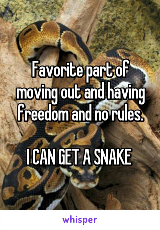 Favorite part of moving out and having freedom and no rules.  I CAN GET A SNAKE
