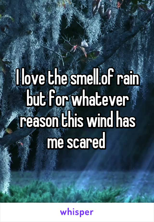 I love the smell.of rain but for whatever reason this wind has me scared