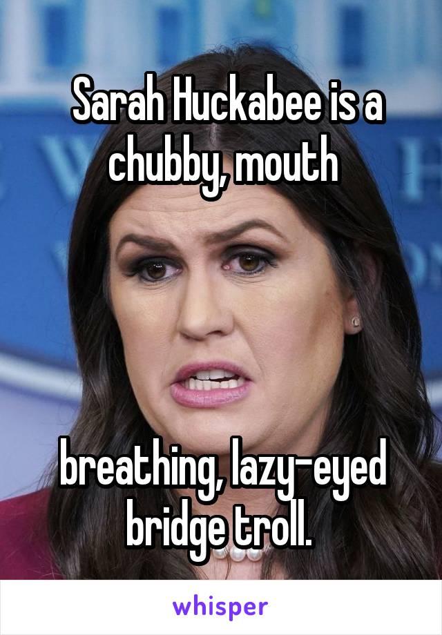 Sarah Huckabee is a chubby, mouth     breathing, lazy-eyed bridge troll.