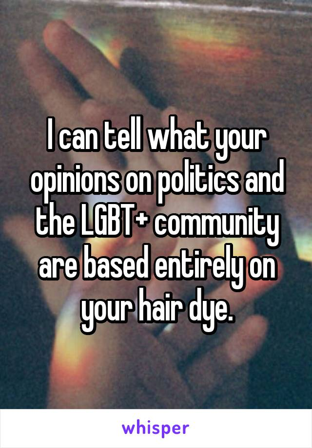 I can tell what your opinions on politics and the LGBT+ community are based entirely on your hair dye.