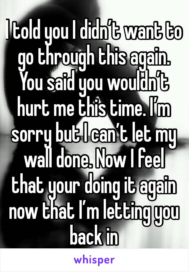 I told you I didn't want to go through this again. You said you wouldn't hurt me this time. I'm sorry but I can't let my wall done. Now I feel that your doing it again now that I'm letting you back in