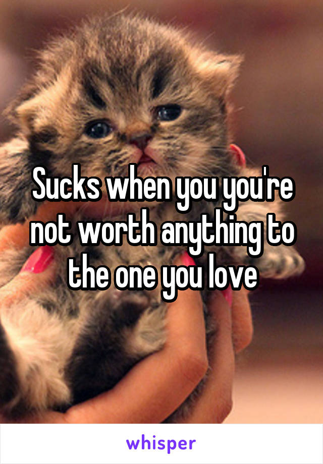 Sucks when you you're not worth anything to the one you love