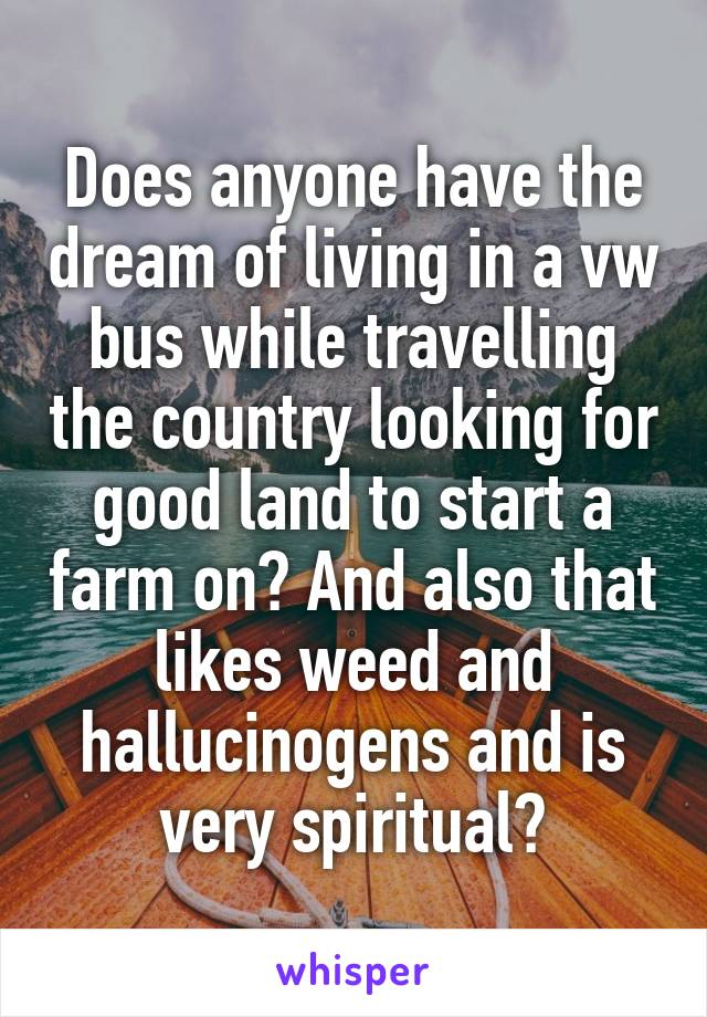 Does anyone have the dream of living in a vw bus while travelling the country looking for good land to start a farm on? And also that likes weed and hallucinogens and is very spiritual?