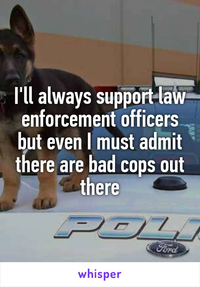 I'll always support law enforcement officers but even I must admit there are bad cops out there