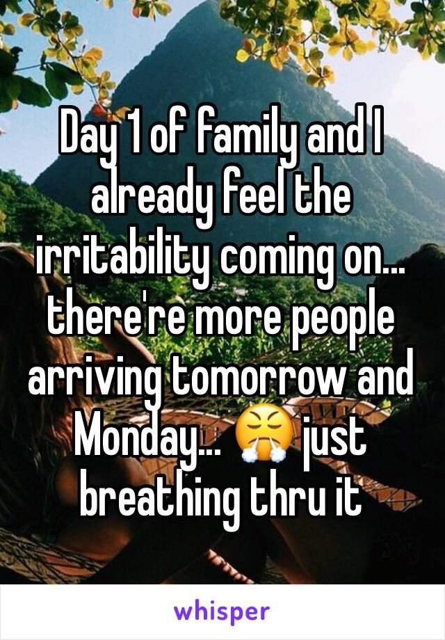 Day 1 of family and I already feel the irritability coming on... there're more people arriving tomorrow and Monday... 😤 just breathing thru it