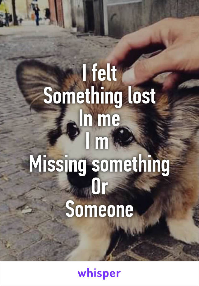 I felt Something lost In me I m  Missing something Or Someone