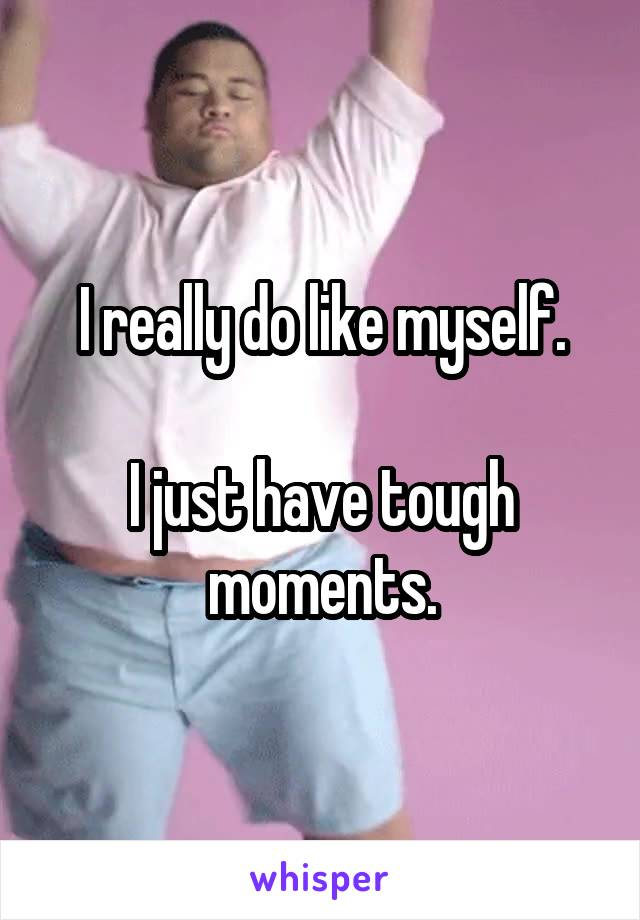 I really do like myself.  I just have tough moments.