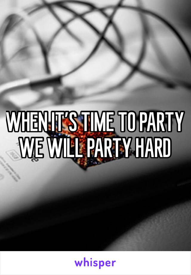 WHEN IT'S TIME TO PARTY WE WILL PARTY HARD