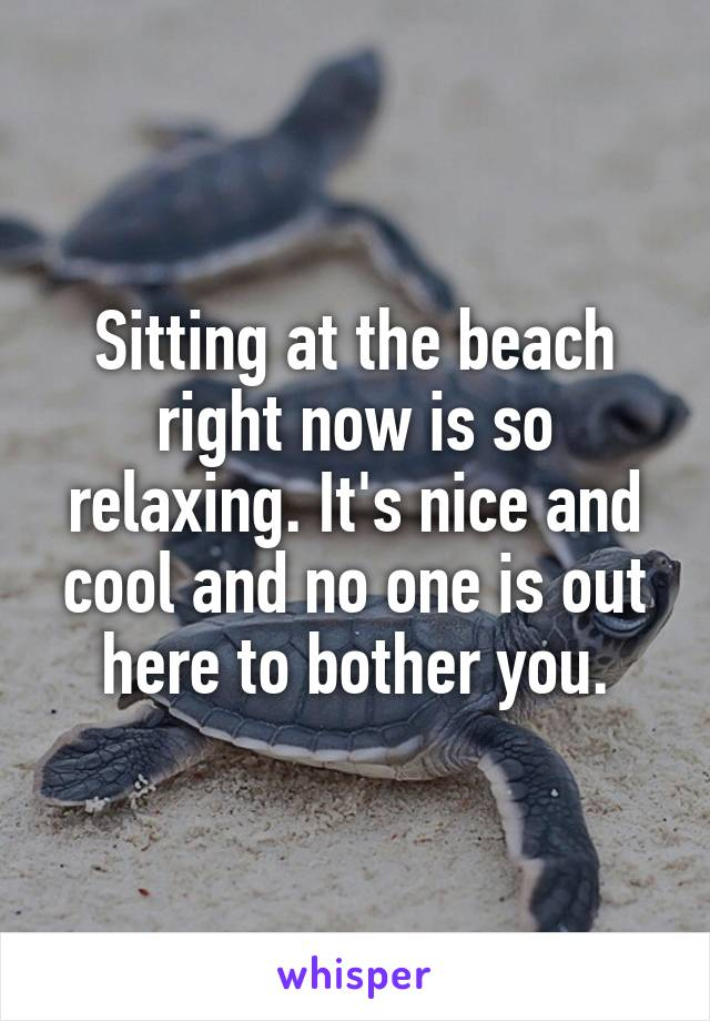 Sitting at the beach right now is so relaxing. It's nice and cool and no one is out here to bother you.