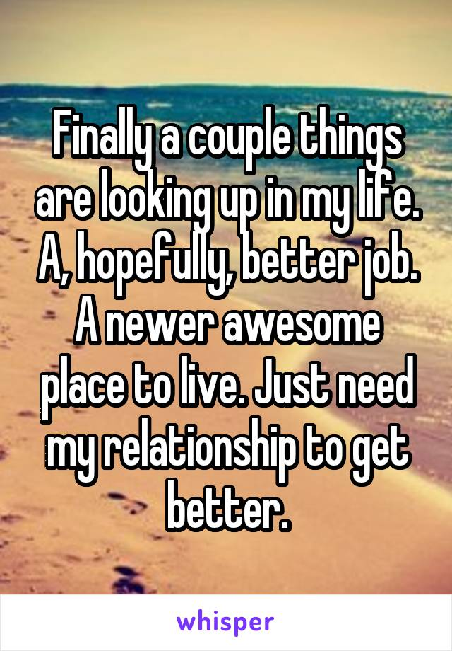 Finally a couple things are looking up in my life. A, hopefully, better job. A newer awesome place to live. Just need my relationship to get better.