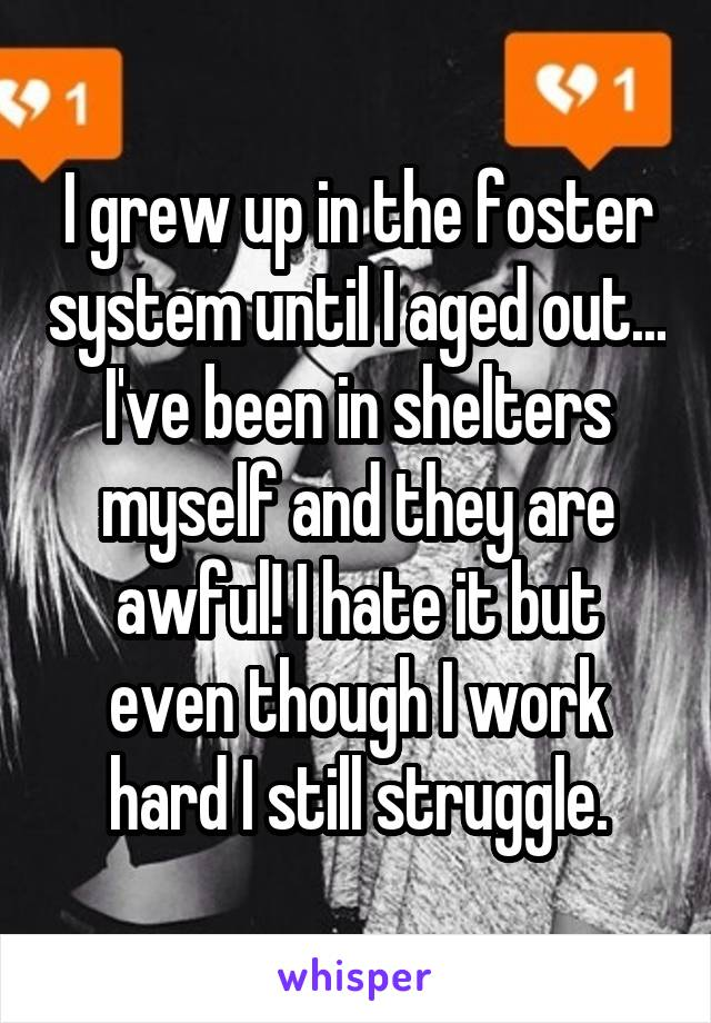 I grew up in the foster system until I aged out... I've been in shelters myself and they are awful! I hate it but even though I work hard I still struggle.