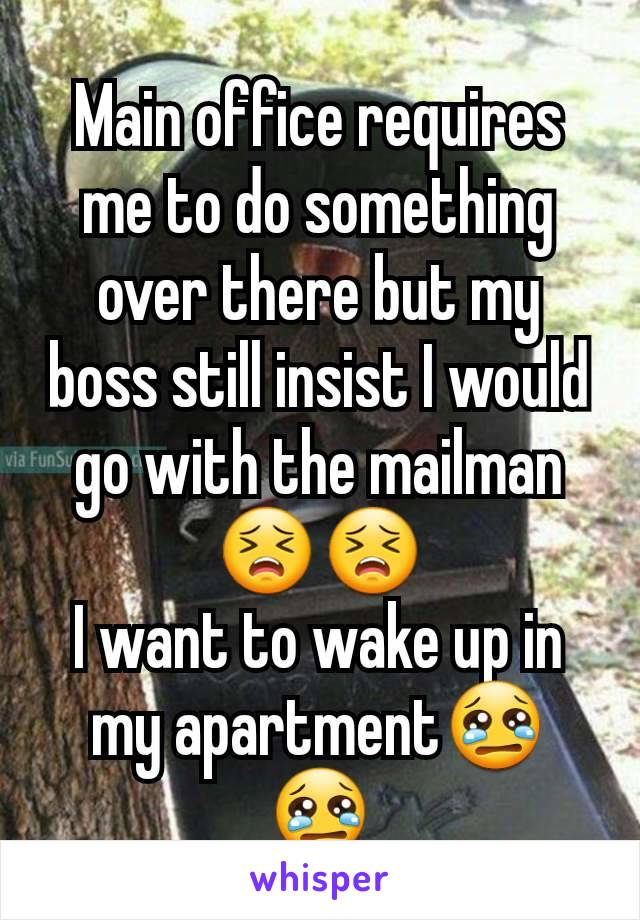Main office requires me to do something over there but my boss still insist I would go with the mailman😣😣 I want to wake up in my apartment😢😢