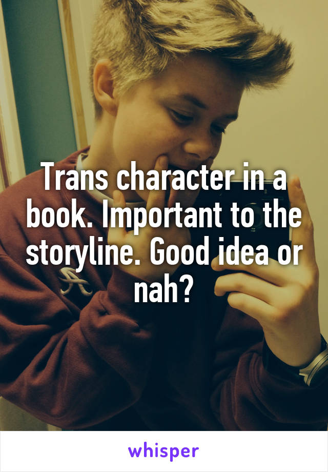 Trans character in a book. Important to the storyline. Good idea or nah?