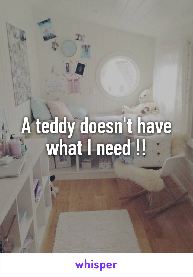 A teddy doesn't have what I need !!