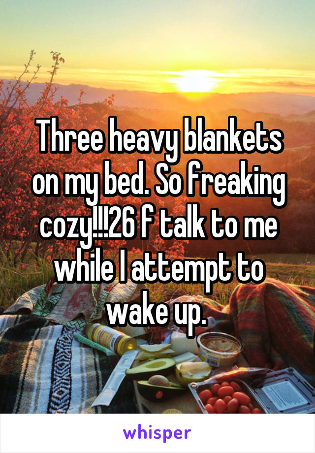 Three heavy blankets on my bed. So freaking cozy!!!26 f talk to me while I attempt to wake up.
