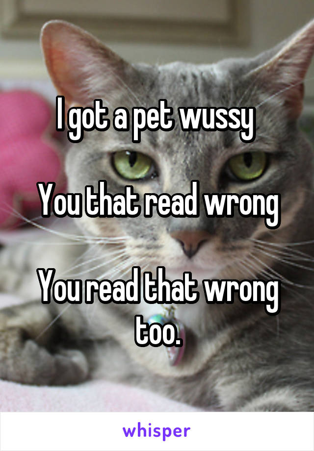 I got a pet wussy   You that read wrong  You read that wrong too.