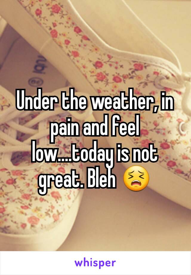 Under the weather, in pain and feel low....today is not great. Bleh 😣