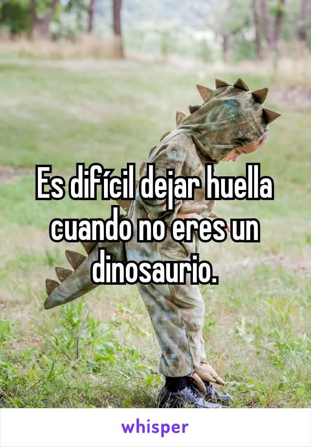 Es difícil dejar huella cuando no eres un dinosaurio.
