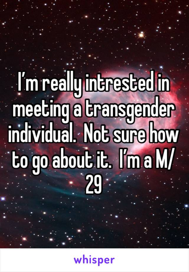 I'm really intrested in meeting a transgender individual.  Not sure how to go about it.  I'm a M/29