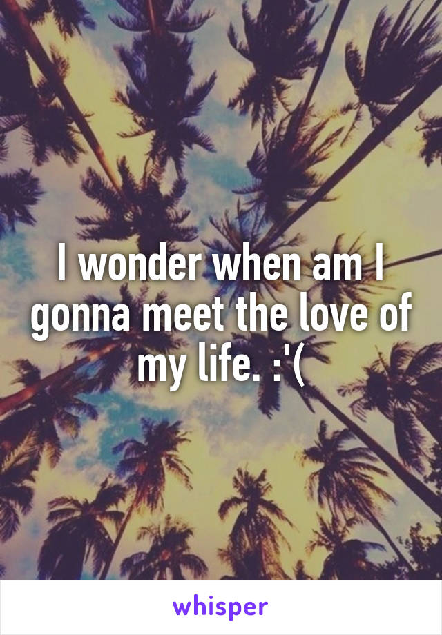I wonder when am I gonna meet the love of my life. :'(