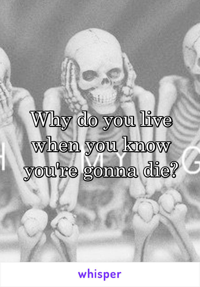 Why do you live when you know you're gonna die?